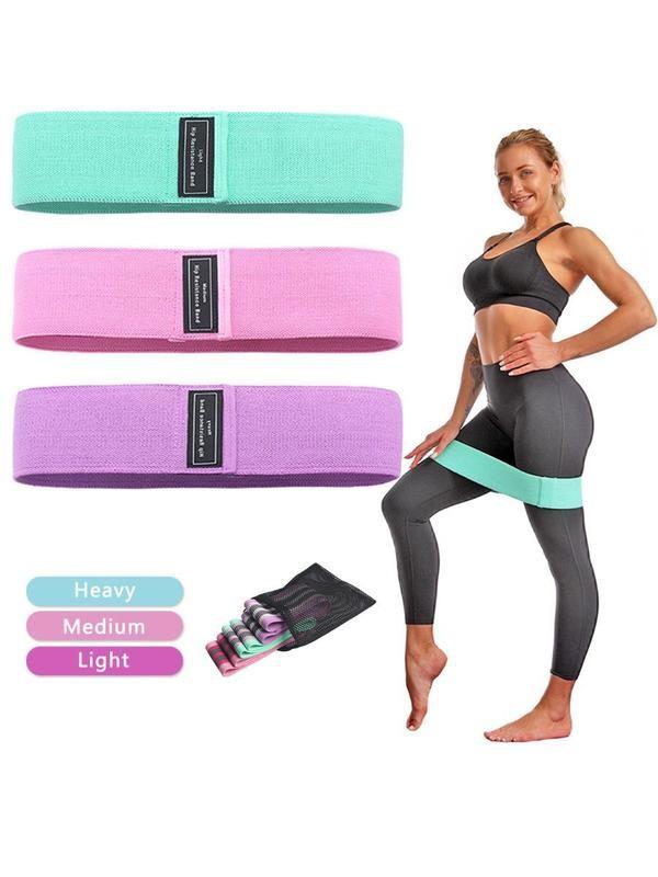 3 шт - набор тканевые фитнес-резинки ленты сопротивления эспандер фото №1