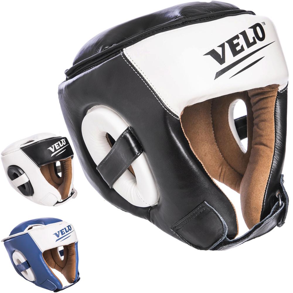 Шлем боксерский открытый с усиленной защитой макушки кожаный velo 2211: размер m-xl, 3 цвета фото №1