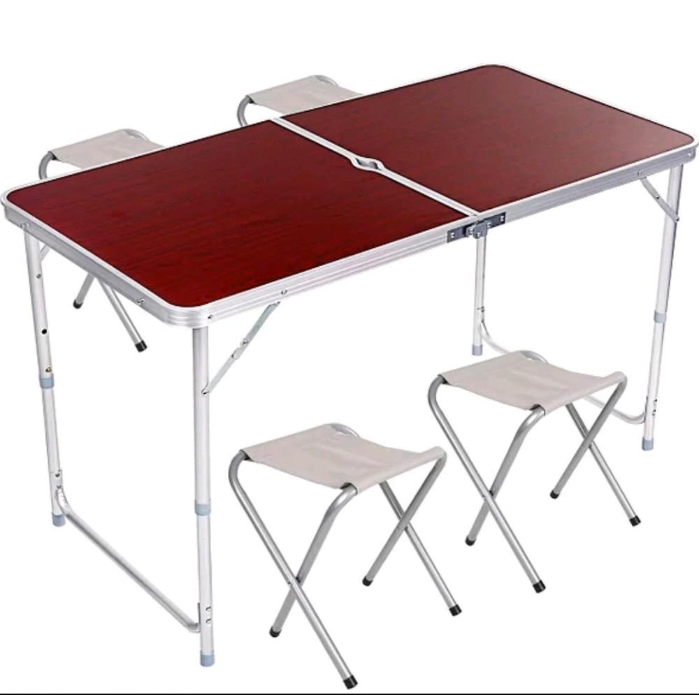 Стол для пикника раскладной с 4 стульями, телескопический 120*60 см. фото №1
