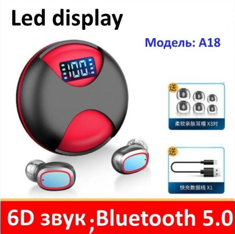 Bluetooth наушники беспроводные tws a 18 ( круглые ) фото №1