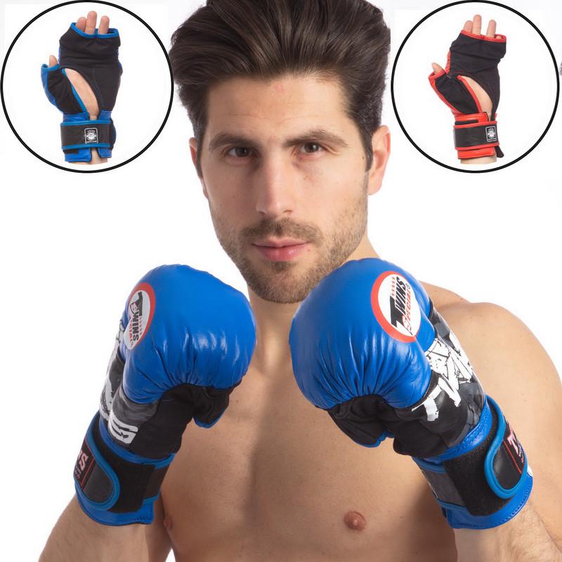 Перчатки гибридные для единоборств кожаные twins 0275: 8-12 унций (2 цвета) фото №1
