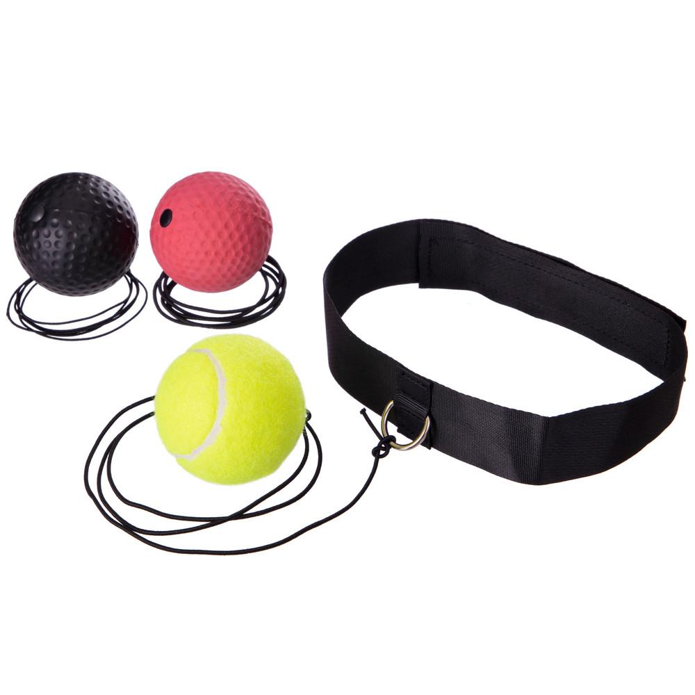 Тренажер для бокса с тремя мячами пневмотренажер fight ball 2855 теннисный мяч на резинке боксерский фото №1