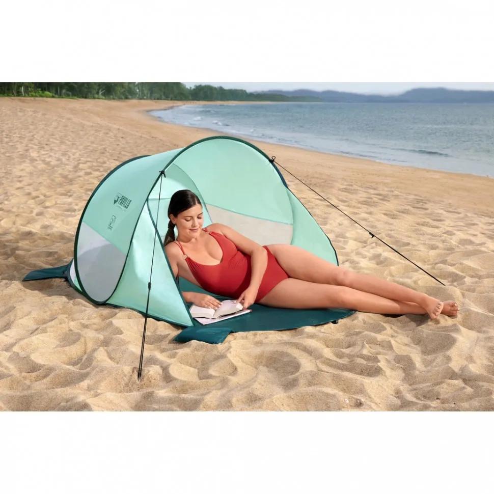 Палатка пляжная тент с навесом 2 местная с чехлом фото №1