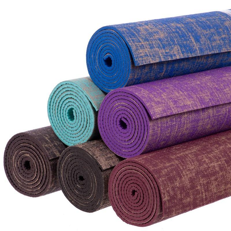 Коврик для йоги джутовый двухслойный 2441 (йога мат): размер 1,85x0,62мx6мм (6 цветов) фото №1