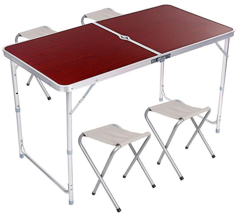 Стол алюминиевый раскладной для пикника 4 стула, коричневый и оранжевый фото №1