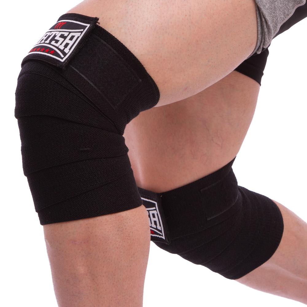 Бинты на колени для приседаний matsa 0667: длина 2м, black фото №1