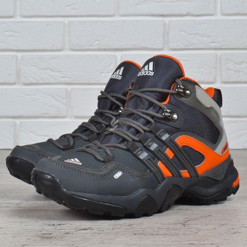 Термо кроссовки кожаные adidas gore tex terrex женские мембранные серые с оранжевым фото №1
